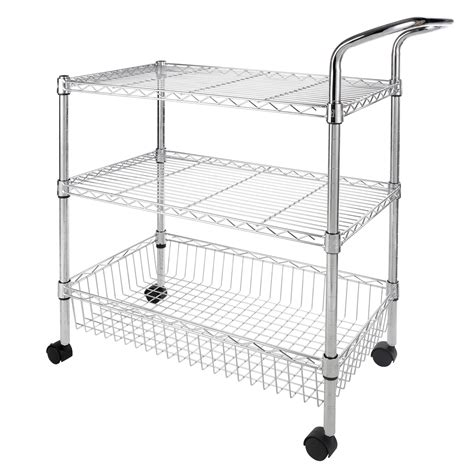 chrome kitchen island 3 tier trolley chrome kitchen island cart wire shelving