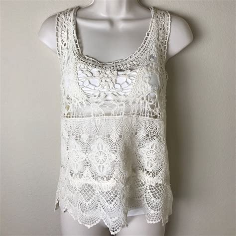 Sheer Top With Lace Tank Top sheer lace crochet tank top in xs from s