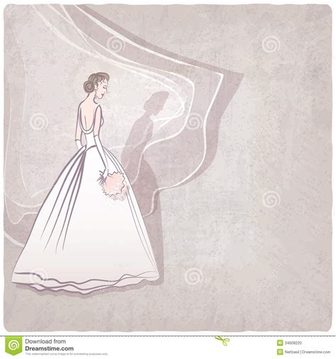 bride in wedding dress on grungy background stock photo