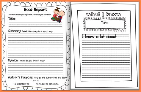 book report template 1st grade 6 non fiction book report template middle school
