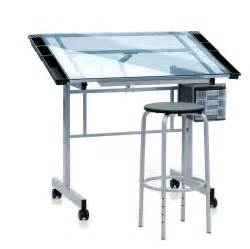 Glass Top Drafting Drawing Table Save On Discount Studio Designs Vision Drafting Table Center With Stool Tiltable Glass Top