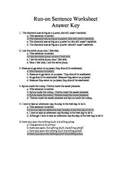Run On Sentence Worksheet Pdf by Run On Sentence Worksheets Quiz And Answer By