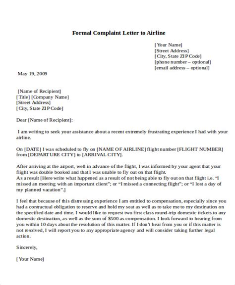 Complaint Letter Exle To An Airline Sle Formal Complaint Letter 7 Exles In Word Pdf