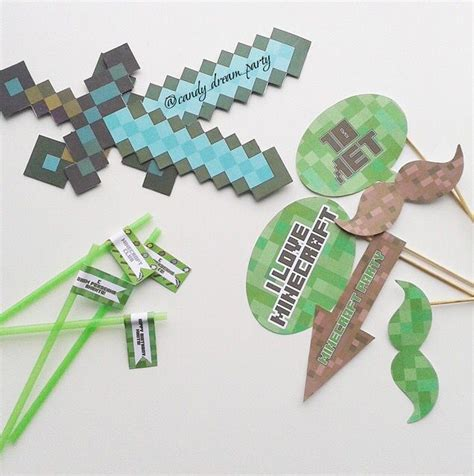 printable minecraft photo booth props 32 best images about minecraft birthday on pinterest