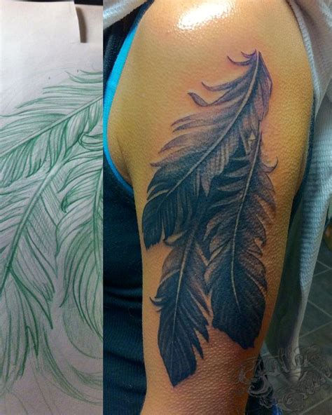 feather tattoo grey black and grey feathers by kelly green tattoonow