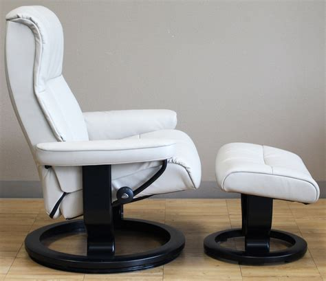 stressless leather chair and ottoman stressless crown cori vanilla leather by ekornes