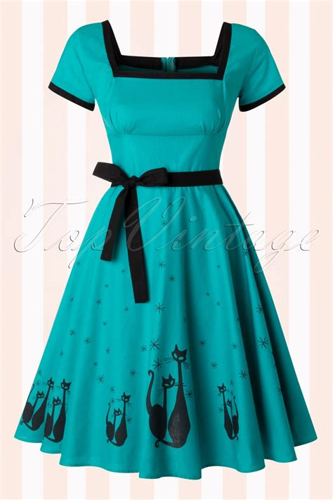 Cat Blue Dress 50s el gato gomez swing dress in teal