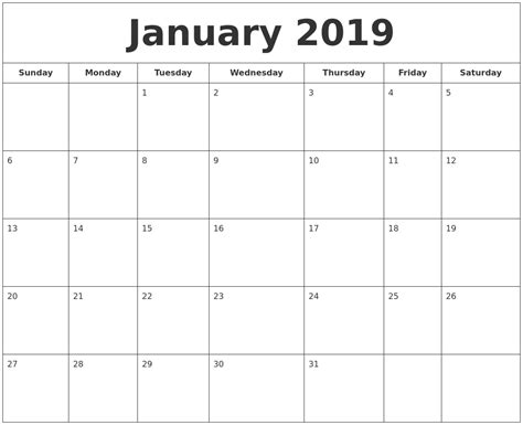 printable calendar january 2019 january 2019 printable calendar