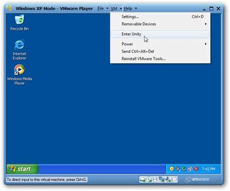 windows 7 vm image run xp mode on windows 7 machines using vmware