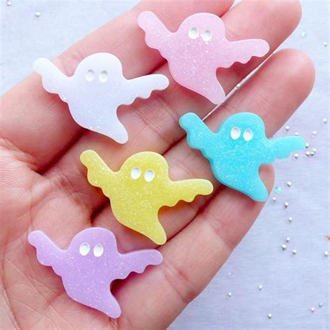 Resin Decocase Bow Ribbon Pita ghost cabochon with glitter glittery cabochons i miniaturesweet kawaii