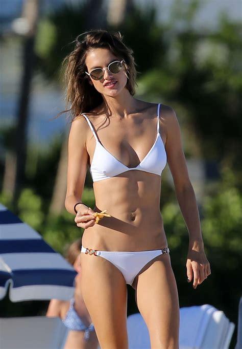 Alessandra Ambrosio Wears Bikinis by Alessandra Ambrosio In White On The In Miami