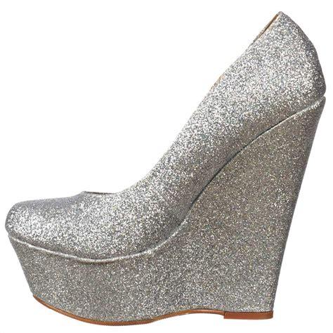onlineshoe silver glitter wedge platform shoes silver