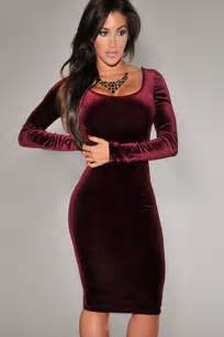 Dark red scoop neck long sleeve bodycon party dress long sleeve
