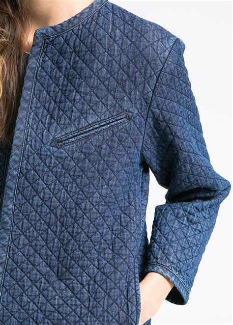 Quilted Denim Jacket by Mango Quilted Denim Jacket In Blue Lyst