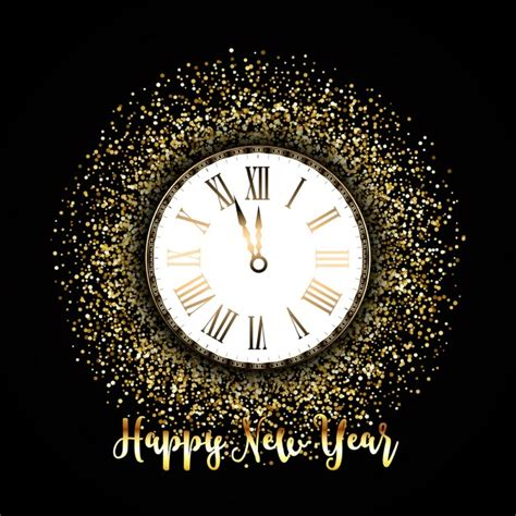 new year pictures for glitter background with a clock for new year vector free