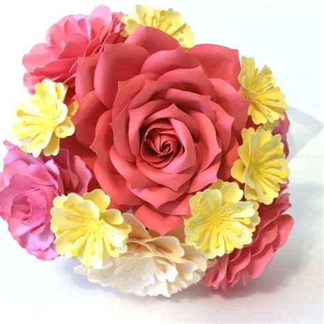Small Paper Bouquet small flourish paper flower bouquet pinks yellow