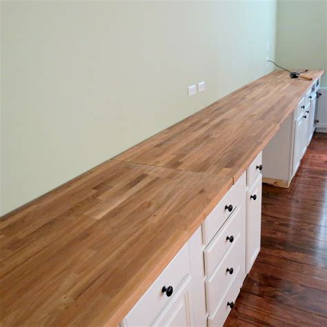 ikea butcher block desk remodelaholic build a wall to wall built in desk and