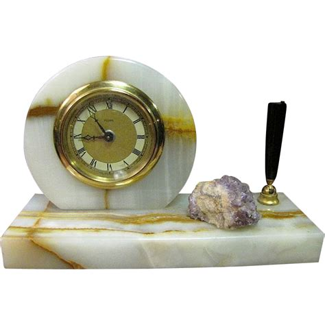 Pen Stand Clock 16034 deco west german clock pen stand marble amethyst quartz from faywrayantiques on ruby