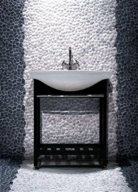 white pebble tiles bathroom polished black pebble tile and off white pebble tile wall