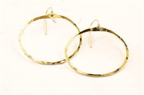 Handcrafted Gold Earrings - zen circle handcrafted drop hoop earrings hammered