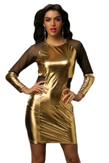Dress Import 25518 Gold Halter Dress gold sleeve patchwork mesh faux leather
