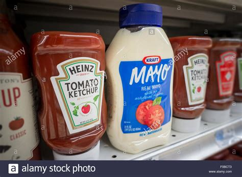 Shelf Of Ketchup by Bottles Of Kraft Mayonnaise And H J Ketchup On A