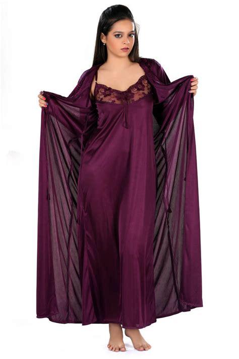 nighty gown design buy dark purple beautiful nighty with robe online