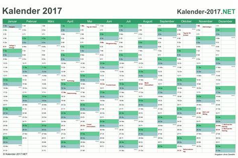 Jahreskalender Mit Kw Kalender 2017 Mit Feiertagen Ferien