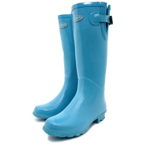 blue boots buy festival snow wellies wellington flat kneet boots