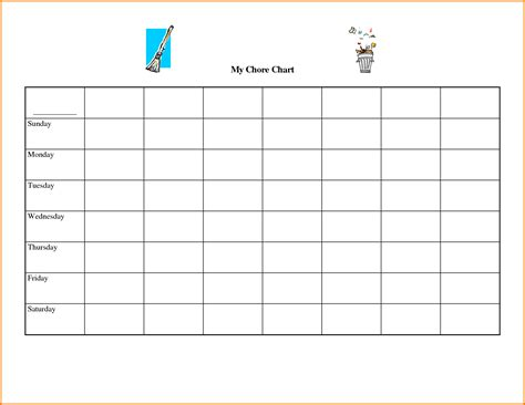 chart template free printable chore chart templates authorization