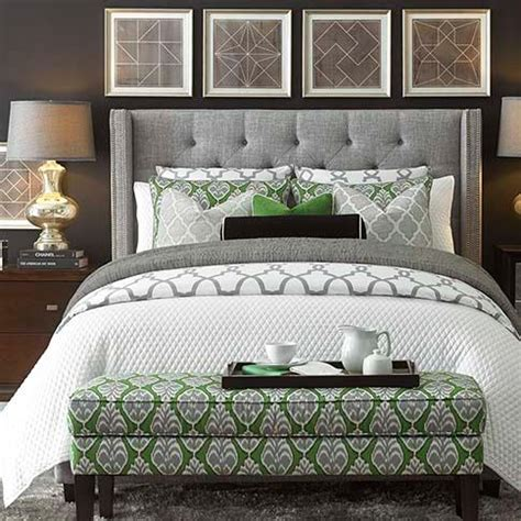 dublin upholstered winged bed  gray