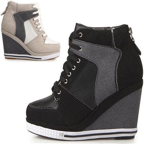 womens platform wedge booties high heels sneakers