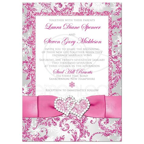 pink white and silver wedding invitations winter photo option wedding invite frosty pink silver white snowflakes printed