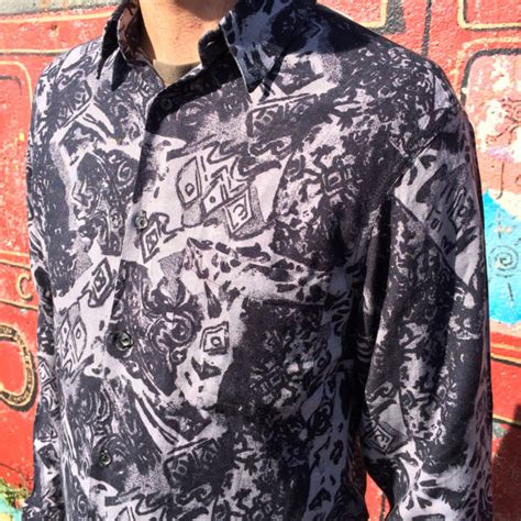 crazy pattern button up shirts 90s vintage aztec print shirt black and grey crazy retruly