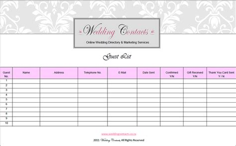 guest list template word top 5 resources to get free wedding guest list templates