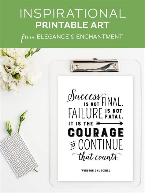 printable success quotes courage to continue free inspirational printable