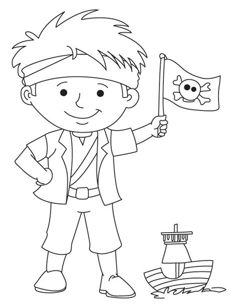 pirate boy coloring page pirate boy waving flag coloring page download free