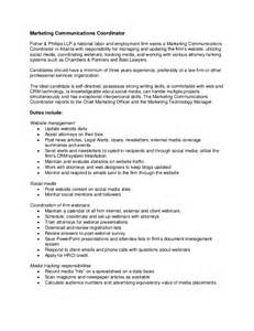 Marketing Coordinator Description Sles by Marketing Communications Coordinator Description