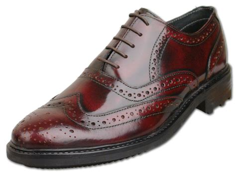 Leather Formal Shoes Maroon customized handmade burgundy color brogue formal leather s dress shoes with lace up made to
