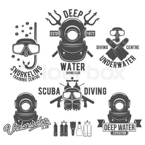 Tshirt Kaos Baju Scuba Diver 3 scuba diving labels set underwater swimming logos sea