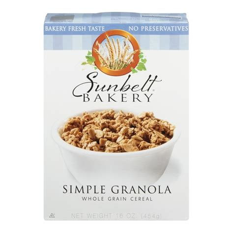 whole grains bakery sunbelt bakery simple granola whole grain cereal from h e