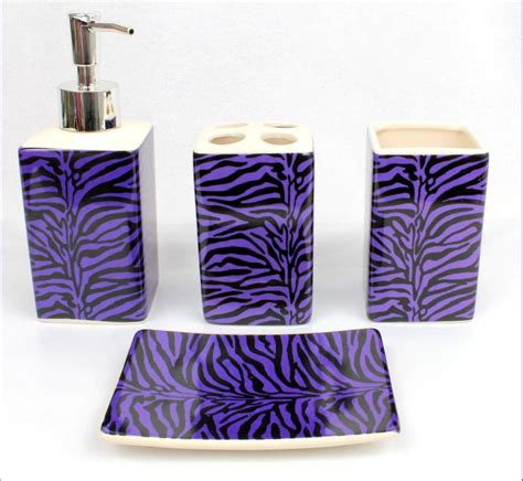 black and purple bathroom sets 4 pcs black purple zebra ceramic bathroom set soap