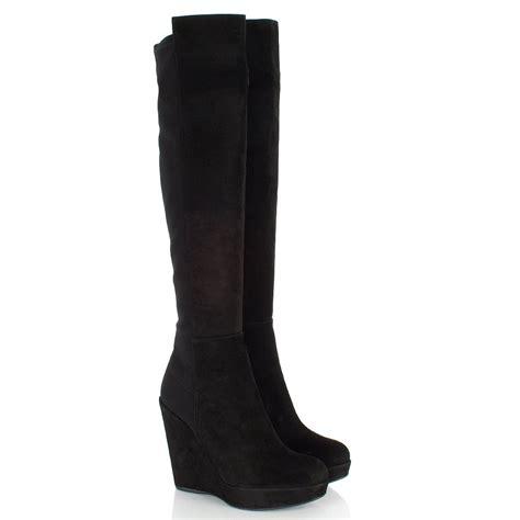 stuart weitzman black demiswoon women s wedge knee boot