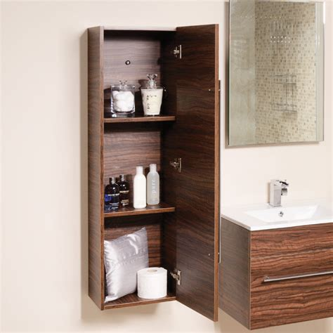 Wall Mounted Bathroom Storage Units Aspen 120cm Walnut Wall Mounted Storage Unit