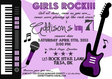 printable invitation rockstar girl rock star birthday invitation printable party by