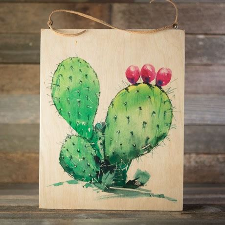 Cactus Home Decor Prickly Pear Watercolor On Wood Texas Highways Gift Shop