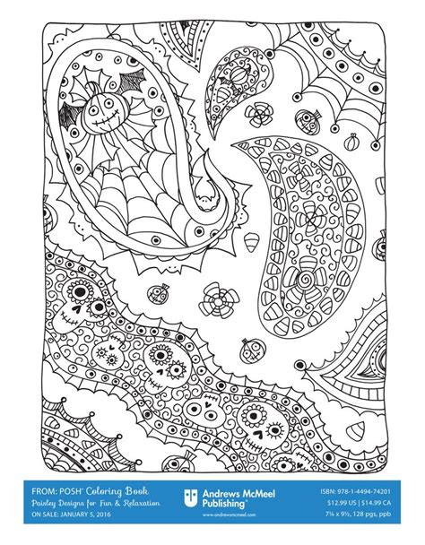 halloween themed coloring page from quot posh adult coloring