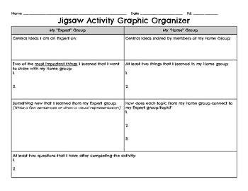 Jigsaw Graphic Organizer By Gabrielle Copen Teachers Pay Teachers Jigsaw Activity Template