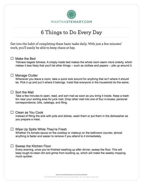 Martha Stewart Baby Shower Checklist by Martha Stewart Cleaning And Organizing Checklists Daily