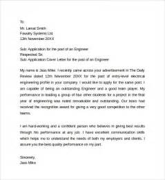 Application Engineer Cover Letter by Sle Application Cover Letter Templates 8 Free Documents In Word Pdf